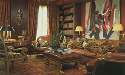 Oushak Carpet Room Setting Antique