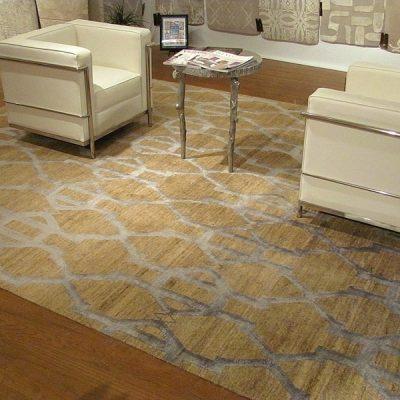 Tib 379 - Banana & Silk Hand Woven Tibetan Carpet